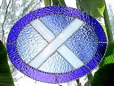 "Scottish Flag Stained Glass Sun Catcher - 9 3/4"" x 12"" - $38.95--- Celtic Designs, Irish Designs, Irish Sun Catchers - Glass Suncatchers, Stained Glass Décor, Stained Glass Sun Catchers -  Stained Glass Design - See more stained glass designs at www.AccentonGlass.com"
