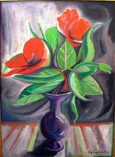 """Gianluca Madonia, 50x70 olio su tela, """"Fiori rossi"""""""