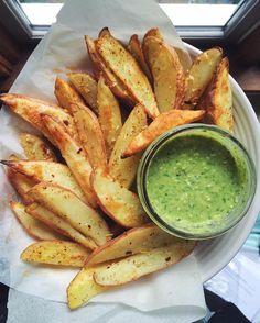 crispy baked fries and pesto dip  by mamtagovind