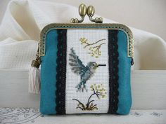 Turquoise purse frame - Cross stitch and lace - Blue green hummingbird - Bird and flowers - Framed case