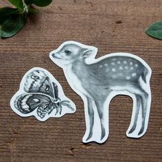 Temporary Tattoo Fawn and Moth Includes 2 Tattoos by BurrowingHome, $10.00