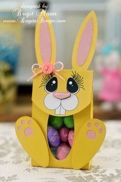 Cute, cute, cute! Don't you just love this adorable treat bag! Brigit did a cutout in the belly to show off the special treats! You can get yours, free! Check out her page to see what she did! Free bunny here: http://svgcuts.com/blog/2013/03/16/free-svg-file-03-16-13-easter-bunny-gift-bag/