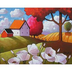 PAINTING ORIGINAL Folk Art White Flower Blooms Farm Field Tree Color Abstract Modern Landscape Country Cottage Art C. Horvath Buchanan 11x14