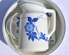 Vintage French Ceramic Wash Bowl and Jug  Antique by LaCorbeille
