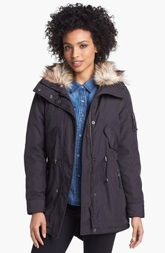 S13/NYC 'Camper' Faux Fur Trim Anorak available at #Nordstrom