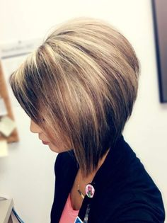 Stacked Bob Hairstyle Extraordinary Stacked Bob Haircut With Blonde Highlights On Dark Hair  Hair