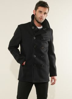Schott: New Navy - Classic Melton Wool Naval Pea Coat USA Made