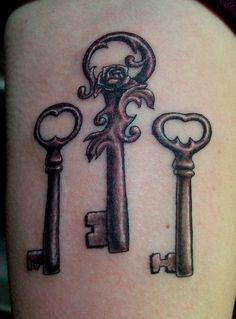 love the idea of a skeleton key tattoo