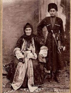 Circassians. Grandmother and grandson. Photo of the late 19th - early 20th century / Адыги (черкесы). Бабушка и внук. Фото конца 19 - начала 20 века.