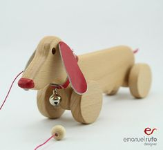 Personalized Wooden Toy, wooden Female Dog, eco-friendly pull toy