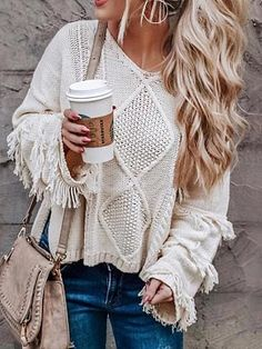 winter outfits videos V Neck Tassel Bell Loose Sweater Outfit Pullovers Loose Knitting O-neck Flare Sleeve Tassel Patchwork Ladies Tops Autumn Winter Casual Sweater Fashion, Sweater Outfits, Casual Outfits, Cute Outfits, Fall Outfits, Women's Casual, Dress Outfits, Jeans Outfit Winter, Casual Winter