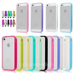 TPU Bumper Frame With Matte Clear Hard Back Skin Case Cover for iPhone 4 4S 5 5S