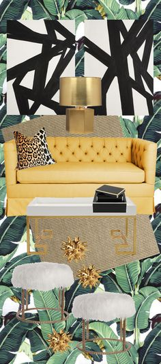 Digging this mood board! Palm wallpaper, leopard print cushion, gilded bits and faux fur - yes please to everything.