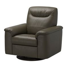 """IKEA - TIMSFORS, Swivel recliner, Mjuk/Kimstad dark green, , Soft, dyed-through 3/64"""" thick grain leather that is supple and smooth to the touch.The outer surfaces are covered in a durable coated fabric with the same look and feel as leather.The armrests with extra padding are comfortable to lean against.The built-in footstool is easy to fold in and out. Just pull the handle to fold it out and press with your feet to fold it back in.10-year limited warrranty. Read about the terms in the..."""