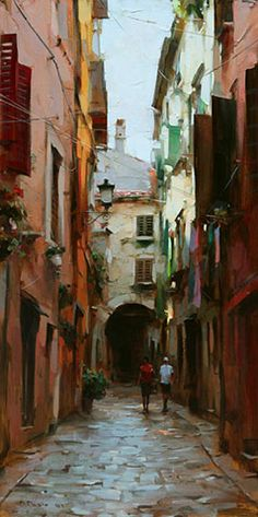 Dmitri Danish Original Oil - In The Old Quarter