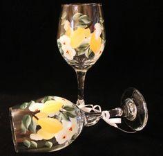 Lemon and White Flowered Wine Glasses by Allthatglass1 on Etsy, $22.00