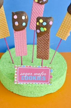 Love the Wafer Cookie Idea for Fun Party Food via Etsy