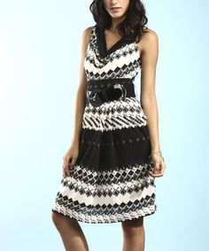 Look what I found on #zulily! Black & Cream Cowl Neck Sleeveless Dress by Young Threads #zulilyfinds