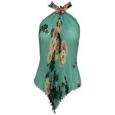 Preowned Ungaro Aqua Floral Print Pleated Silk Chiffon Butterfly... (755 BRL) ❤ liked on Polyvore featuring tops, multiple, aqua top, tie top, sequin top, halter-neck tops and long tops