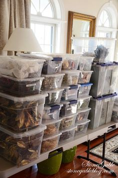 Storing items in clear containers enables you to see what's inside, making it super easy to find them for next holiday season. I love this idea and will be using to store my items.
