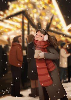 Illustration Mignonne, Art Et Illustration, Christmas Illustration, Girl Cartoon, Cartoon Art, Art Christmas Gifts, Christmas Markets, Alone Art, Poster Print