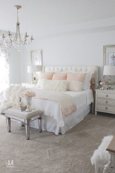 Master Bedroom Updates For Fall & Winter - Summer Adams Master bedroom update for fall and winter with Pom Pom At Home, Pink Champagne Grace Duvet Cover Collection, faux fur throw and cozy romantic ambiance. Fall Bedroom, Room Ideas Bedroom, Home Decor Bedroom, French Bedroom Furniture, French Bedroom Decor, Summer Bedroom, Bedroom Boys, Bedroom Curtains, Bedroom Apartment