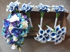 Wedding Package- Teal Royal Blue Purple Cascade Bridal Bouquet Real Touch Flowers Calla Lily Ivory R September Wedding Flowers, Calla Lily Wedding, Winter Wedding Flowers, Purple Wedding Flowers, Rustic Wedding Flowers, Wedding Flower Arrangements, Cobalt Wedding, Wedding Blue, Boho Wedding
