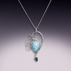 Larimar and iolite pendant by Jeannius Designs, via Flickr