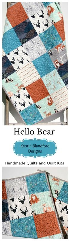 Woodland Handmade Quilt for Nursery, Buck Crib Bedding, Deer Blanket, Hello Bear, Navy Blue Orange Teal Blue Gold Grey Gray, Baby Boy Toddler Blanket, Kids Quilt, Masculine Manly Hunting Buck Stag, Gift for Baby, Bear Owl Raccoon Fox, Forest Animals, Quilt Kits for Beginners, Simple Quick Easy Fast to Complete by Kristin Blandford Designs #handmadegifts #buck #stag #hunting #bedding #quilts #babygifts