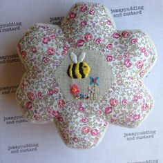 Liberty 'bee hexie' pincushion. Available to order. Etsy shop for pincushions opening soon.