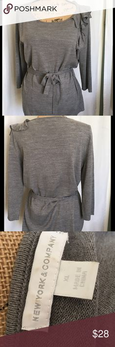 NY&Co. Gray Belted Sweater with Ruffle Accent Great looking sweater by New York and Company. 100% Acrylic. Machine Wash. Bust 20.5 Length 27. New York & Company Sweaters