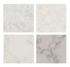 top left: Caesarstone London Gray – top right: Silestone Lagoon bottom left: MSI Calacatta Vicenza – bottom right: MSI Carrara Grigio