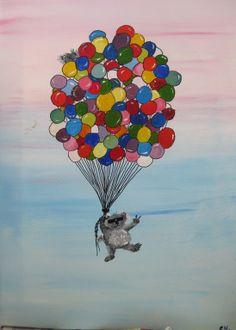 koala flying with palloons