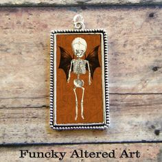 Vintage Anatomy Bat Wing BABY SKELETON Pendant by ProjectBunny, $12.00