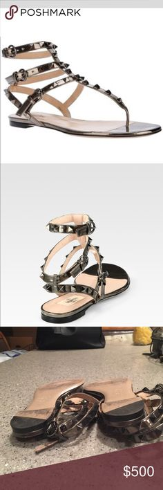 Valentino Rockstud Gladiator Pewter Sandals Iconic rockstuds elevate timeless gladiator sandal, Leather upper, Adjustable ankle straps, leather lining and sole, Padded insole, Made in Italy Valentino Shoes Sandals