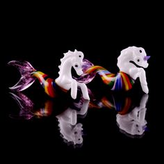 Explore the clouds with the lovely and majestic handmade pendant by Mazet Studios! These lovely rainbow unicorn mermaids can also be used as home decorations with nylon string. Heady Glass Art | Dabbing Rigs | Vaporizer | CBD @ vapesndabs.com Mermaid Pendant, Rainbow Unicorn, Glass Art, Clouds, Handmade, Home Decor, Hand Made, Decoration Home, Room Decor