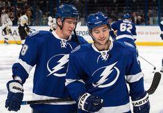 Ondrej Palat #18 and Tyler Johnson #9 Tampa Bay Lightning