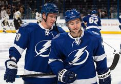 Ondrej Palat #18 and Tyler Johnson #9 Tampa Bay Lightning