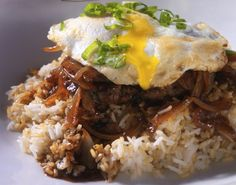 """""""Loco Moco"""" Hawaiian breakfast meal: Bed of rice, beef pattie, egg & caramelizsed onion gravy. Father's Day breakfast idea, or for hungry teen sons."""