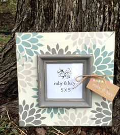 custom modern floral distressed picture by rubyandlucyframes 4x4 Crafts, Tile Crafts, Framed Letters, Wood Framed Mirror, Birthday Wall, Painted Picture Frames, Gallery Wall Frames, Camping Crafts, Diy Frame