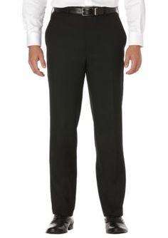 Savane Black Big  Tall Straight-Fit Sharkskin Flat-Front Non-Iron Dress Pants