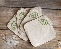 Green Leaves Coasters, a set of Hand embroidered, Natural Linen and Cotton, Nature Inspired Home Baby Embroidery, Embroidery Stitches, Embroidery Patterns, Sewing Crafts, Sewing Projects, Fabric Coasters, Embroidered Gifts, Felt Crafts, Creations