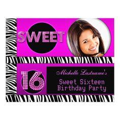 Sweet 16 Sweet Sixteen Hot Pink Zebra Photo Flyers