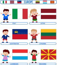 Flags Europe, 9 Mai, Children, Kids, Royalty Free Stock Photos, Playing Cards, Activities, Cartoon, Felicia