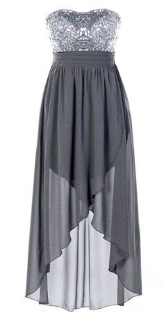 Vegas Nights Dress: Features a glittering silver strapless sequin bodice, flowing gray chiffon skirt with inner lining for no show-through, precise pintuck pleats to the waist, and a flattering high-low hem to finish.