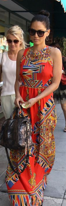 Who made Olivia Munns print orange maxi dress that she wore in Beverly Hills on April 3, 2013?
