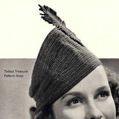 Vintage Crochet Patterns, Vintage Knitting, Hat Patterns, Crochet Hooks, Free Crochet, Knit Crochet, Cossack Hat, Bonnet Pattern, Feather Hat