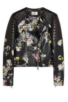 Floral Fashion for Winter - Dark Floral Prints - Erdem Jade Floral-Print Nappa Leather Biker Jacket - ELLE