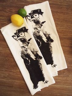 Set of 2 LARGE 28x33 Towels  Hand Printed in earth friendly Black ink. These towels make a great all around handy towel for the home.  They get softer