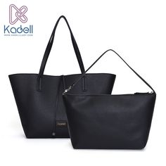 cc828892b2 Kadell 2Pcs Sets Brand 2016 Women luxury Soft Leather Handbag women  shoulder bags shopping Composite Bag Casual Style Ladies Bag